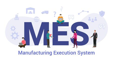 Illustration pour mes manufacturing execution system concept with big word or text and team people with modern flat style - vector illustration - image libre de droit