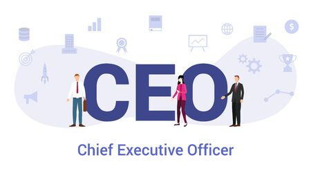 Illustration pour ceo chief executive officer concept with big word or text and team people with modern flat style - vector illustration - image libre de droit