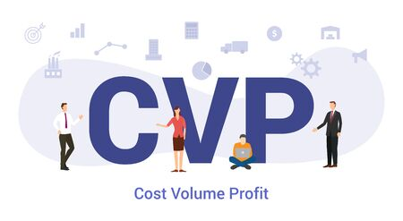 Illustration for cvp cost volume profit concept with big word or text and team people with modern flat style - vector illustration - Royalty Free Image