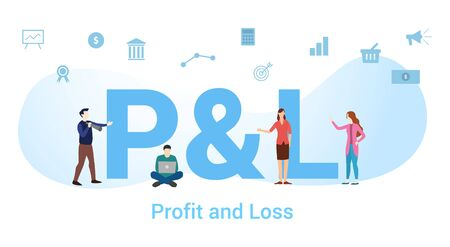 p&l profit and loss concept with big word or text and team people with modern flat style - vector