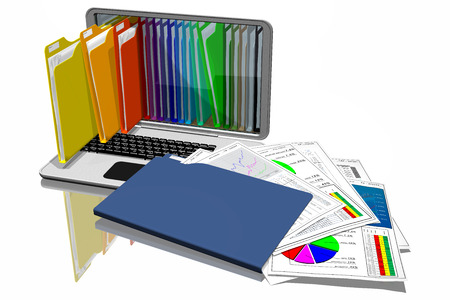 Computers with colored folders for document storage. Database.