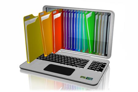 Photo pour Computers with colored folders for document storage. Database. - image libre de droit