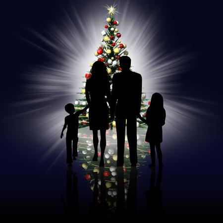 Foto per Siluette famiglia con sfondo albero di Natale. - Immagine Royalty Free