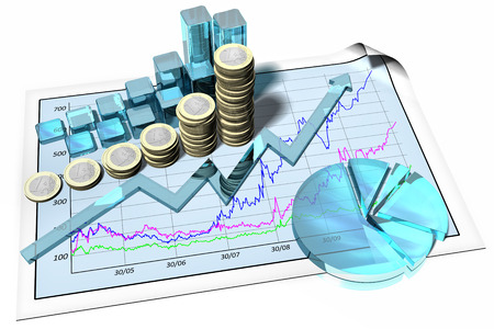 Foto per Grafico crescita finanziaria. Astratto su fondo bianco. - Immagine Royalty Free