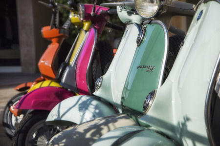 Vintage Vespa Scooter, iconic symbol of Italy, manufactured by Piaggio