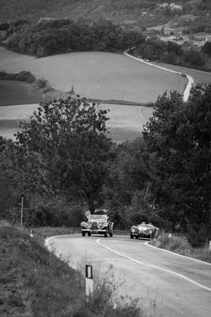 CAGLI, ITALY - OCT 24 - 2020: ASTON MARTIN DB 2 1952 on an old racing car in rally Mille Miglia 2020 the famous italian historical race (1927-1957)