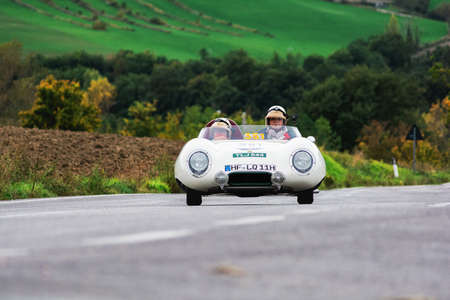 CAGLI, ITALY - OCT 24 - 2020: LOTUS ELEVEN COVENTRY CLIMAX 1100 1956 on an old racing car in rally Mille Miglia 2020 the famous italian historical race (1927-1957)