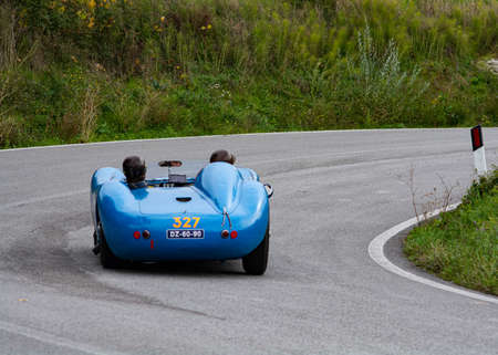 CAGLI, ITALY - OCT 24 - 2020: MASERATI 200 S1955 on an old racing car in rally Mille Miglia 2020 the famous italian historical race (1927-1957)