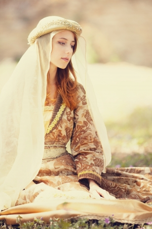 Medieval lady at outdoor.