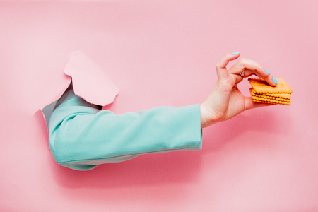 Female's hand in classic blue jacket with cookie looks out from pink background