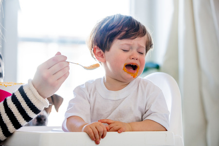 Photo pour Young mother try to feeding a toddler boy with a spoon in a chair - image libre de droit