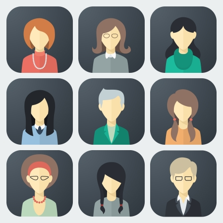Illustration pour Colorful Female Faces App Icons Set in Trendy Flat Style - image libre de droit