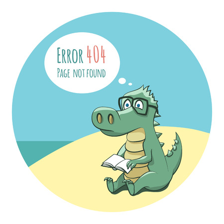 Crocodile With a Book - Funny Error 404 Page Illustration