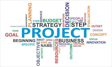 Illustration pour A word cloud of project related items - image libre de droit