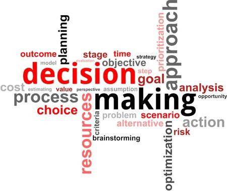 Illustration pour A word cloud of decision making related items - image libre de droit