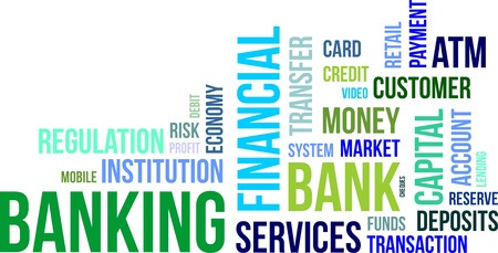 A word cloud of banking related items