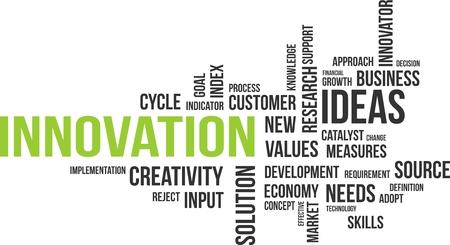 Illustration pour A word cloud of innovation related items - image libre de droit