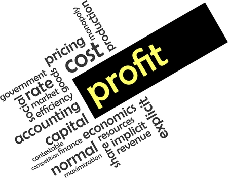 A word cloud of profit related items
