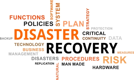 Illustration pour A word cloud of disaster recovery related items - image libre de droit