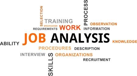 Illustration pour A word cloud of job analysis related items - image libre de droit