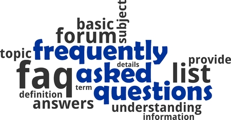 A word cloud of frequently asked questions related items