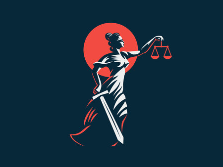Illustration pour The goddess Themis with a sword of justice and weights in her hands. Vector emblem. - image libre de droit