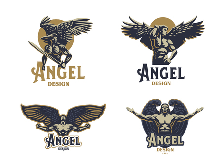 Illustration pour Angel man. Wings. Logo. Set of vector emblems. - image libre de droit