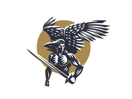 Illustration pour Angel man with Wings. Logo. Vector emblem. - image libre de droit