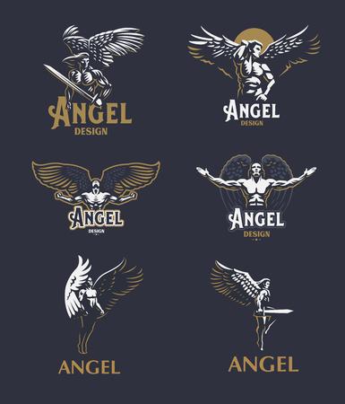 Ilustración de Angel man with Wings. Logo. Vector emblem. - Imagen libre de derechos