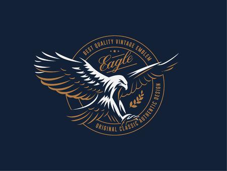 Ilustración de The flying eagle. Hawk. Bird.  Logo. Vector emblem. - Imagen libre de derechos