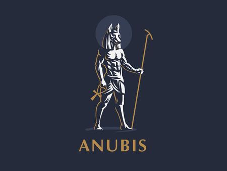 Illustration pour The Egyptian god Anubis. Logo.  Vector emblem. - image libre de droit