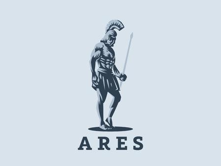 Illustration pour God Ares or Mars with a spear in his hands. Vector emblem. - image libre de droit