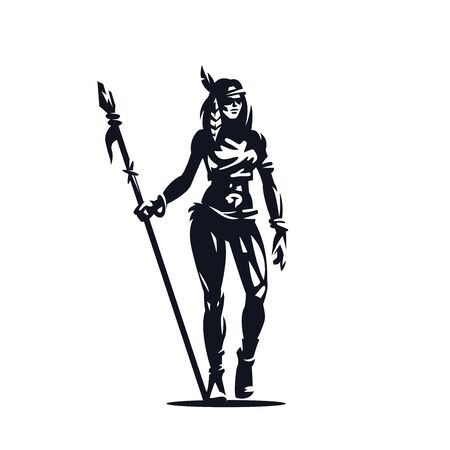 Illustration pour A Native American woman with a spear in her hands. - image libre de droit