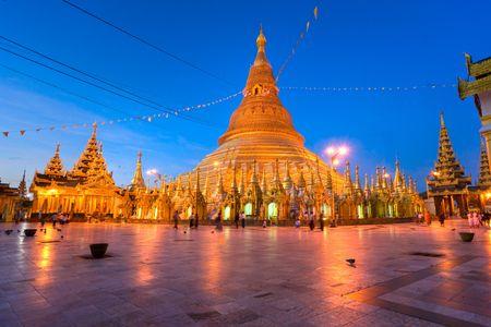 Shwedagon Paya at twilight, Yangoon, Myanmar.