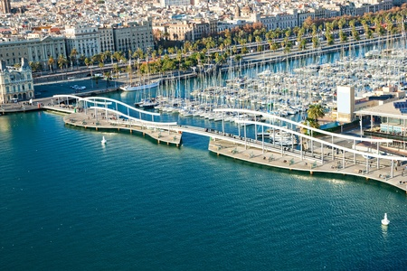 Photo for Barcelona port view from the air - Royalty Free Image