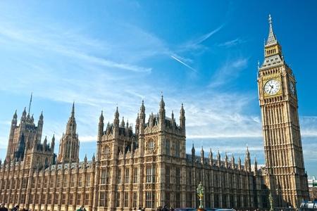 Photo pour The Big Ben, the House of Parliament and the Westminster Bridge at night, London, UK. - image libre de droit