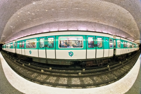 PARIS -DECEMBER 14: Paris Metro station on December 14, 2012 in Paris, France. Paris Metro is the 2nd largest underground system worldwide by number of stations (300).