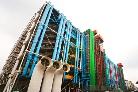 Fish-eye view of The Pompidou cultural center in Paris, France