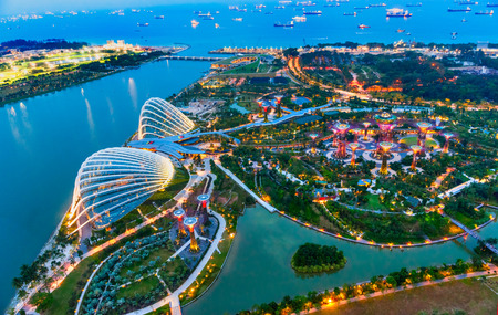 Photo pour SINGAPORE - MARCH 19: Night view of The Supertree Grove at Gardens by the Bay on March 19, 2013 in Singapore. Spanning 101 hectares of reclaimed land in central Singapore, adjacent to Marina Reservoir. - image libre de droit