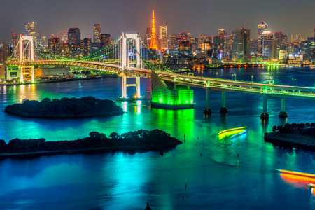 Photo for Tokyo skyline with Tokyo tower and rainbow bridge. - Royalty Free Image