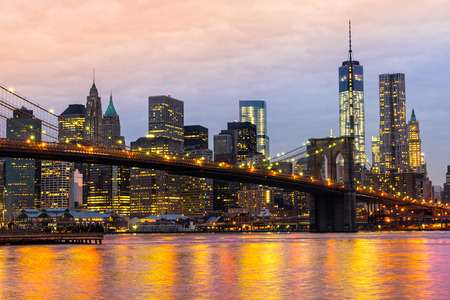 Manhattan skyline at sunrise, New York City, USA.