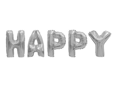 Foto de Word happy in english alphabet from grey (chrome) balloons on a white background. holidays and education. - Imagen libre de derechos