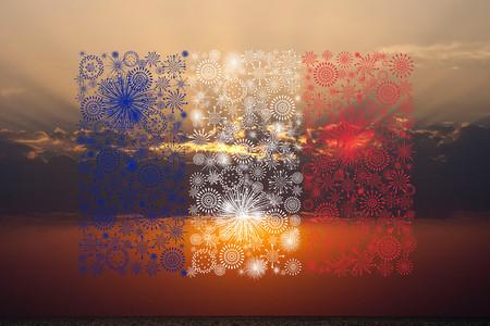 france flag fireworks on sunset background
