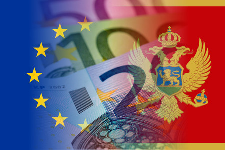 eu and montenegro flag with euro banknotes mixed image