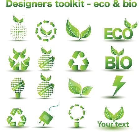 Eco and bio icon set
