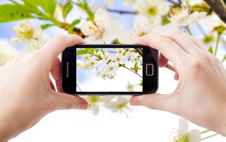 An image of shooting photographs with mobile phone