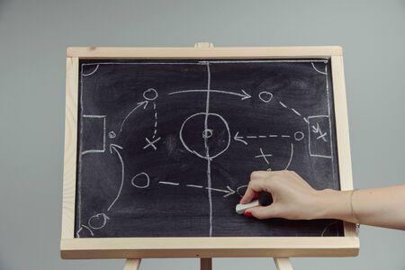 Photo pour close up of a soccer tactics drawing on chalkboard. - image libre de droit
