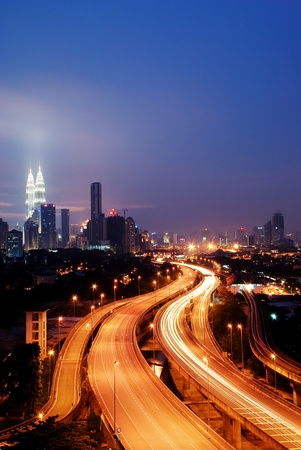 Stunning light trail scenery at the busy highway in Kuala Lumpur city at night