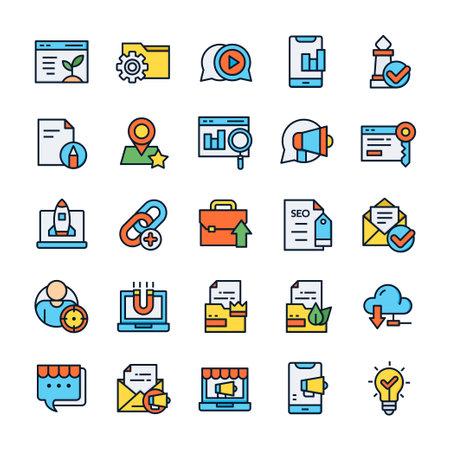 Illustration pour Set of SEO icons with outline color style. - image libre de droit