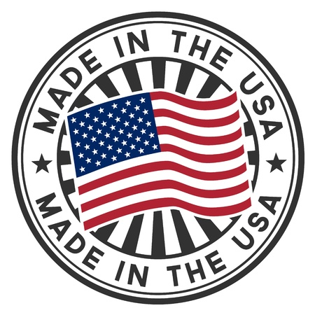 Stamp with flag of the USA  Lettering Made in the USA